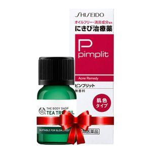 Combo Tea Tree Oil The Body Shop và Kem Trị Mụn Shiseido Pimplit Nhật