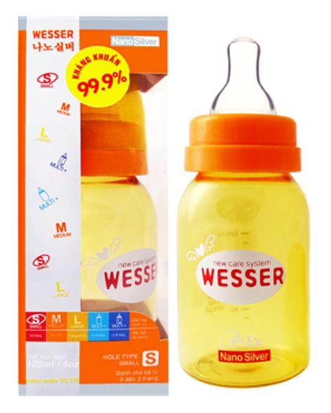 Bình Sữa Wesser Cổ Hẹp 120ml - Bình Nano Silver