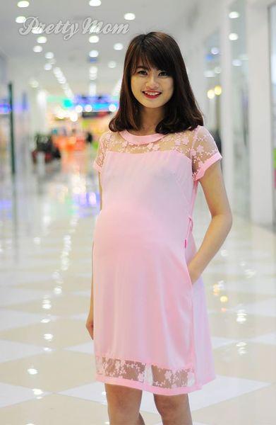Đầm Bầu Pretty Mom Mk94 Màu Hồng Phấn