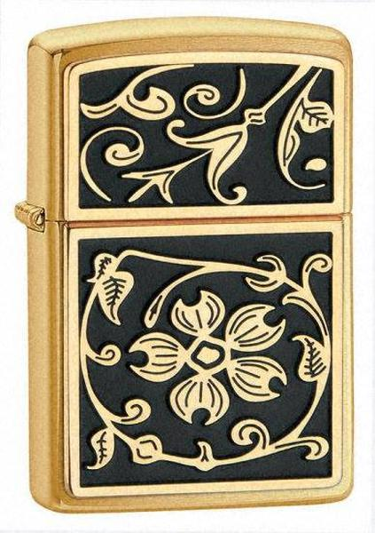 Bật Lửa Zippo 20903 Gold Floral Plush Emblem Brushed Brass