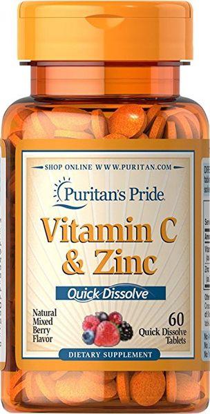 Viên Ngậm Bổ Sung Vitamin C Và Kẽm Puritan's Pride Quick Dissolve