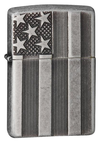 Bật Lửa Zippo 28974 Armor Flag Antique Silver Plate