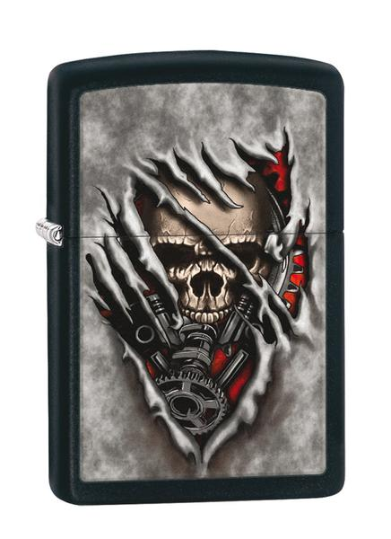 Bật Lửa Zippo Skull Lighters Black Matte Gears 28882