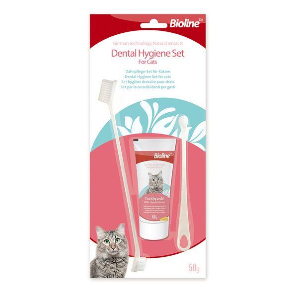 Bộ Kem Đánh Răng Cho Mèo Bioline Dental Hygiene