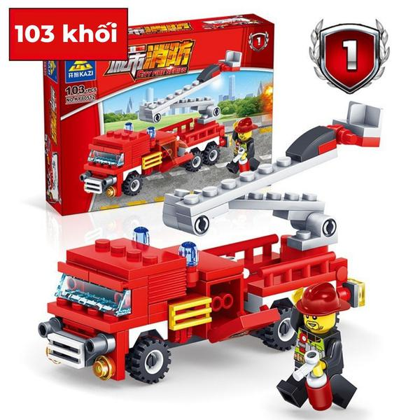Bộ Lego Lắp Ráp Kazi 4 Trong 1 Các Phương Tiện Cứu Hỏa