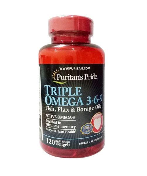 Omega 3 6 9 Fish & Flax Oils & Borage Oils Puritan's Pride 120 Viên