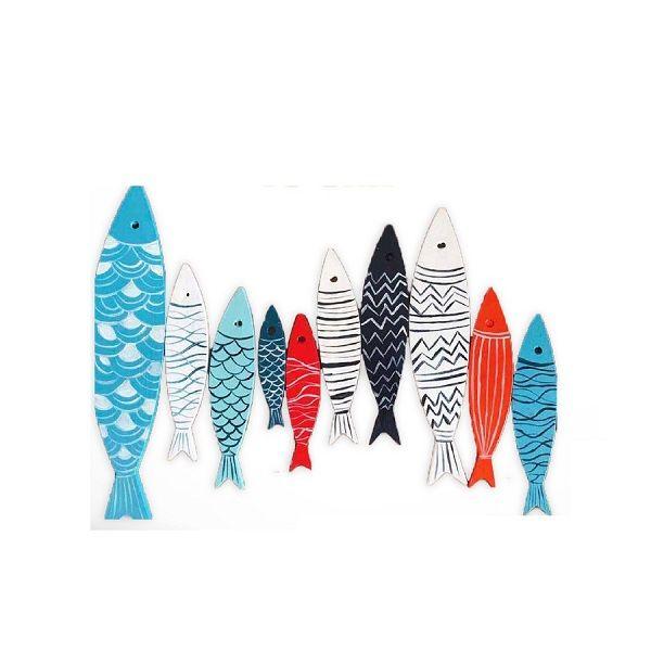 Set 10 Cá Gỗ Màu Sắc Dán Trang Trí Tường