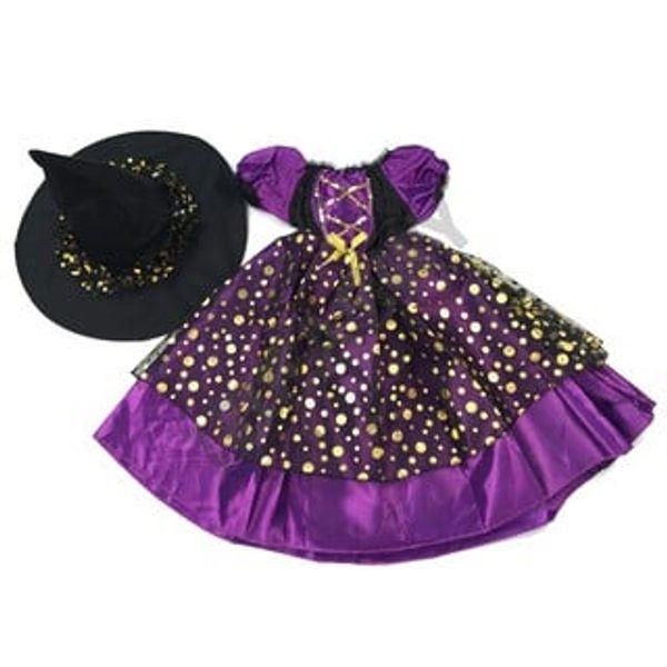 Bộ Váy Phù Thủy Halloween Chấm Bi Ánh Kim G-0296 Cho Bé
