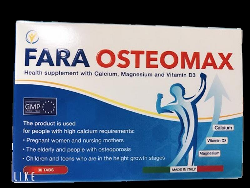 Thực Phẩm Bảo Vệ Sức Khỏe Fara Osteomax Hỗ Trợ Bổ Sung Ca, Mg, Vitamin D3