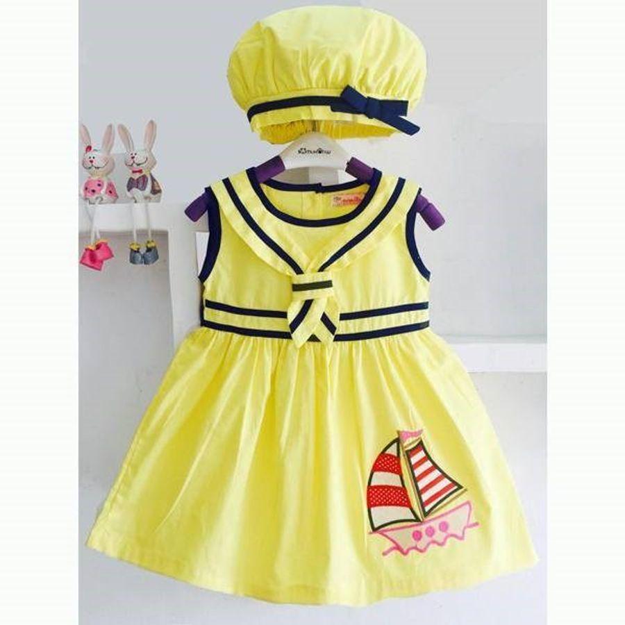 Váy Thủy Thủ Thêu Thuyền Kèm Nón Bánh Tiêu