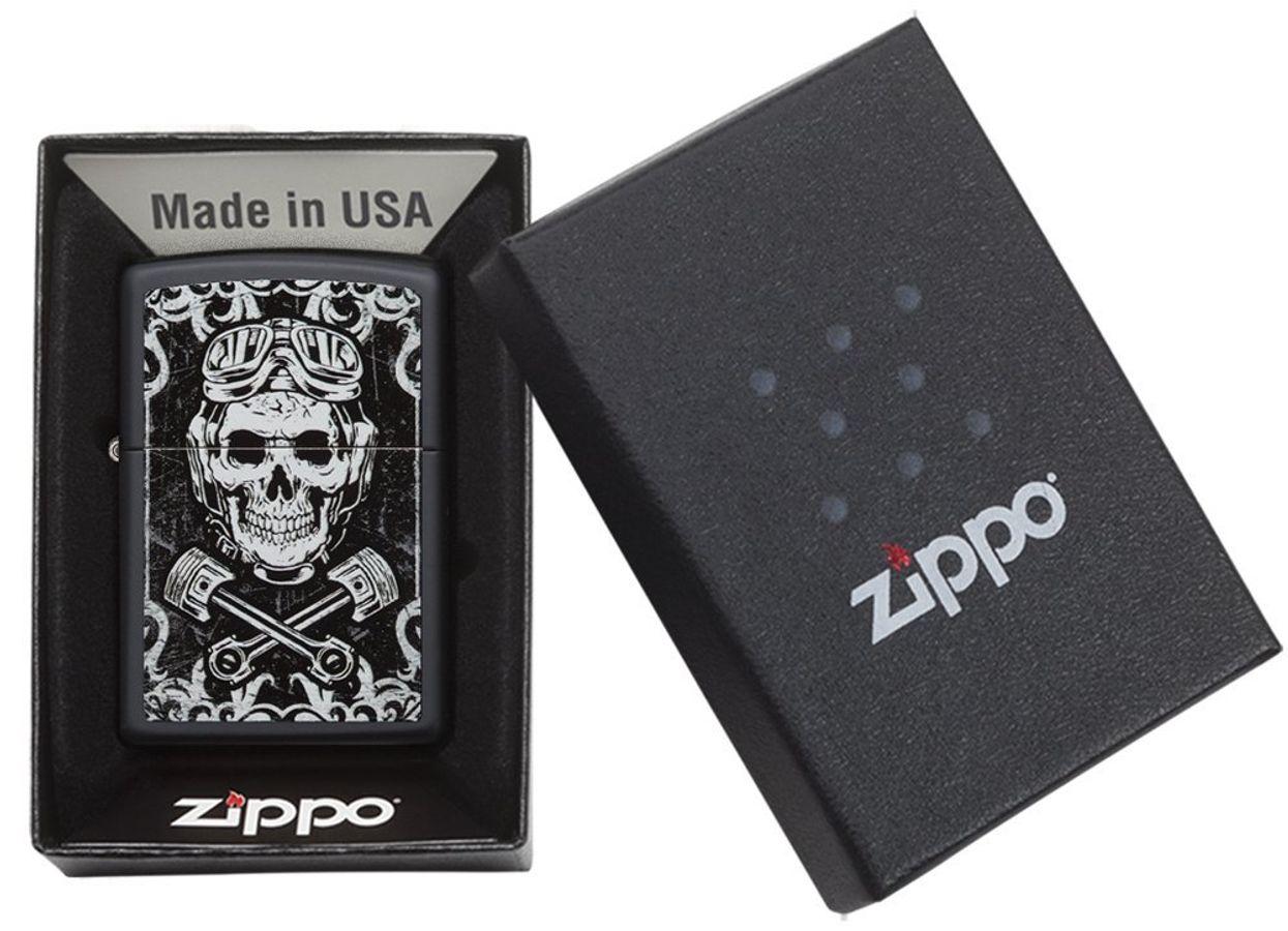 Bật Lửa Zippo Black Matte Skull 29088 Họa Tiết Nghệ Thuật