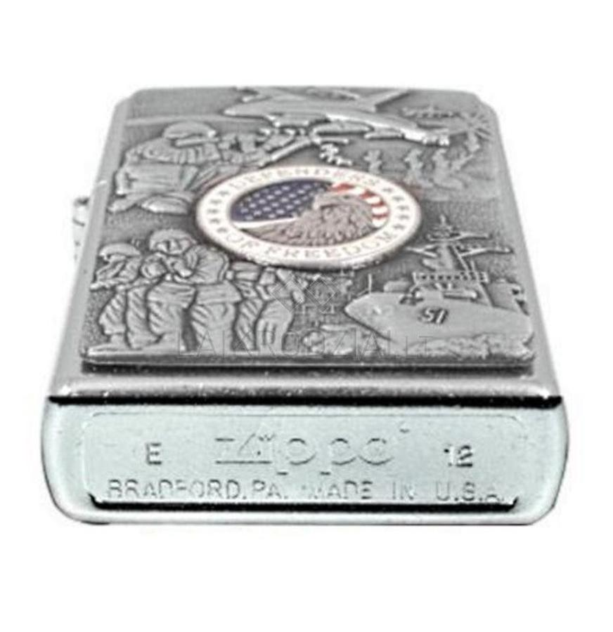 Bật Lửa Zippo 24457 Classic Joined Forces Emblem Street Chrome