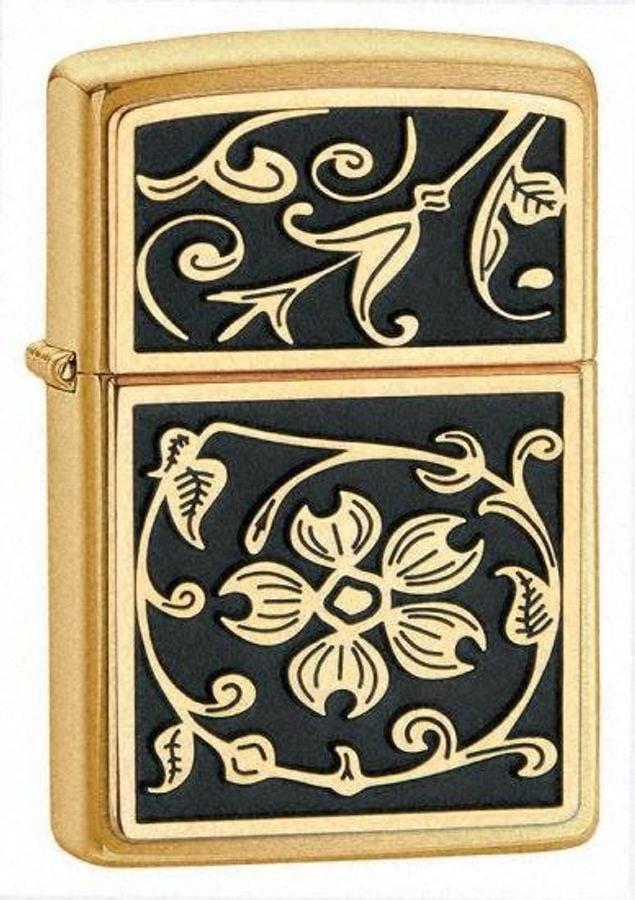 Bật Lửa Zippo 20903 Gold Floral Plush Emblem Brushed Brass