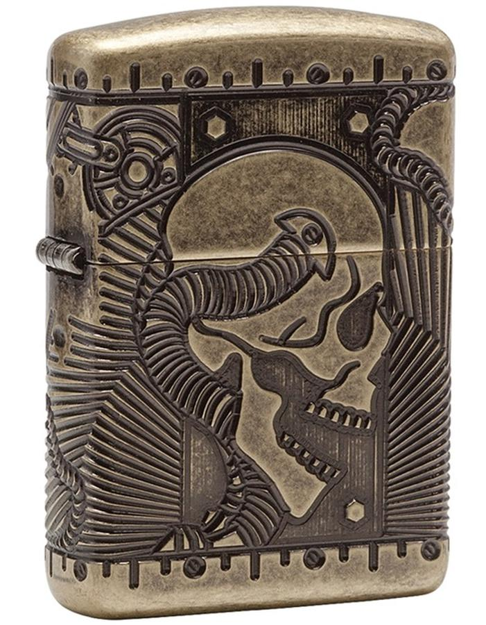 Bật Lửa Zippo 29268 Steampunk 360 Multicut Antique Brass Armor