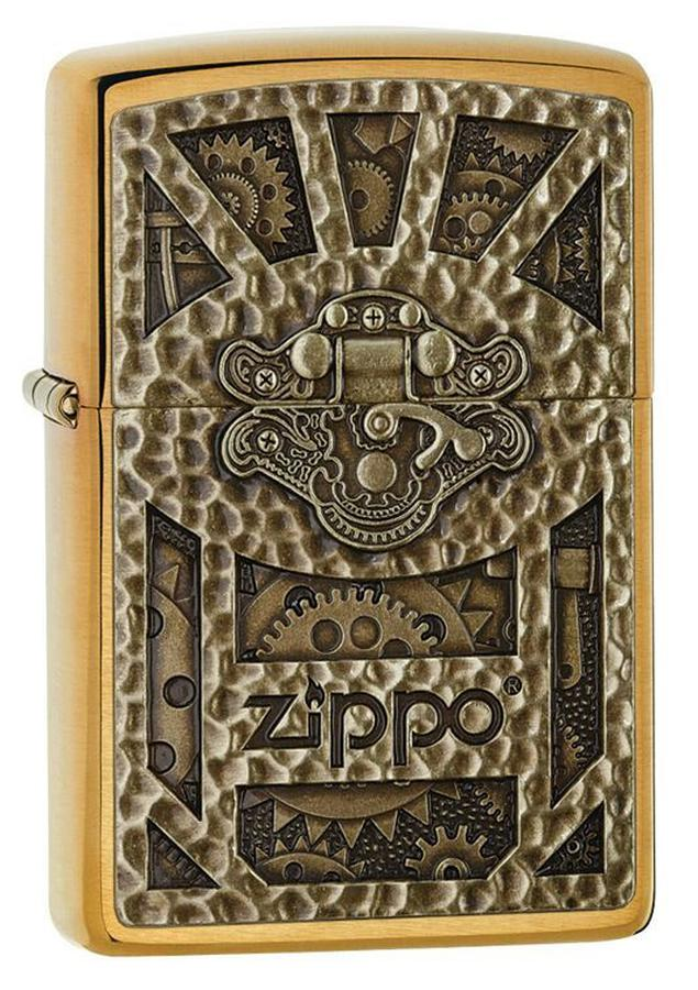 Bật Lửa Zippo 29103 Steampunk Box Emblem Brushed Brass