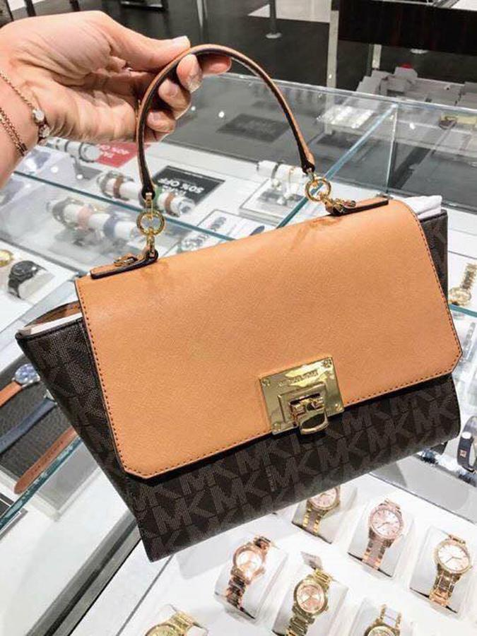 Túi Michael Kors Tina Satchel Màu Brown Signature