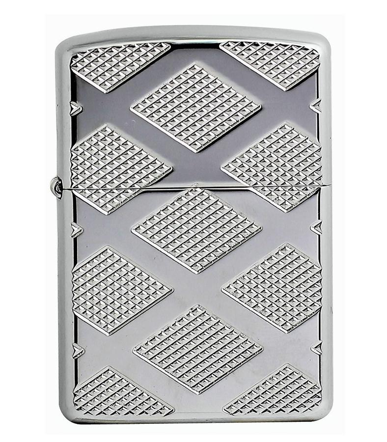 Bật Lửa Zippo 28637 Armor Carved Chrome Diamond