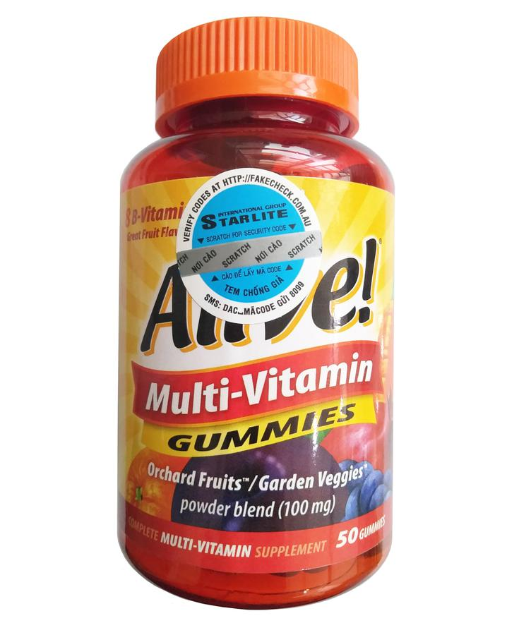Kẹo Dẻo Vitamin Tổng Hợp Alive Multi-Vitamin Gummies