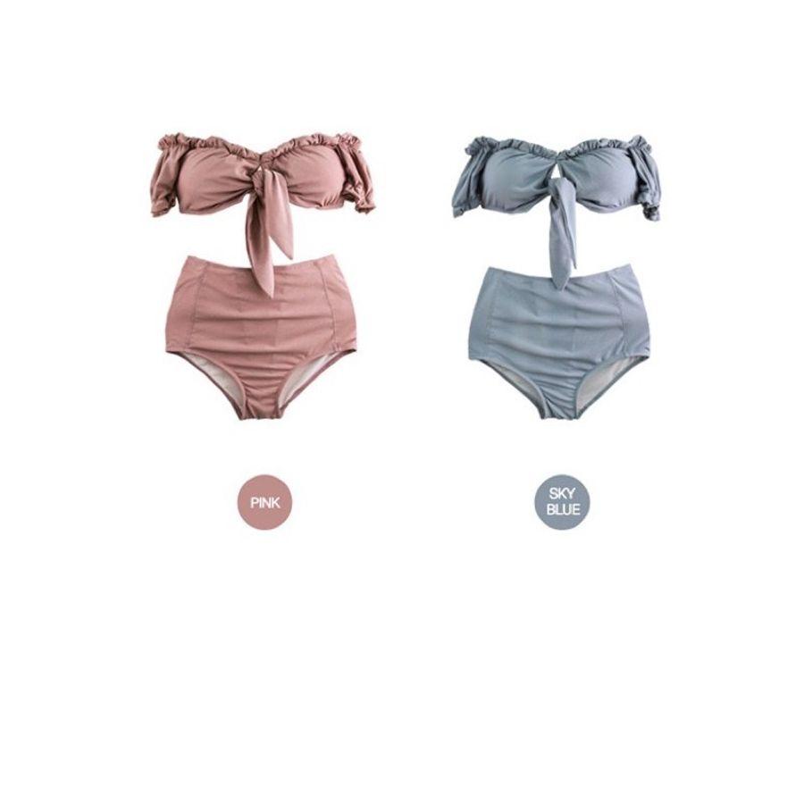 Bikini 2 Mảnh Cạp Cao Thắt Nơ Ngực Đơn Giản, Gợi Cảm