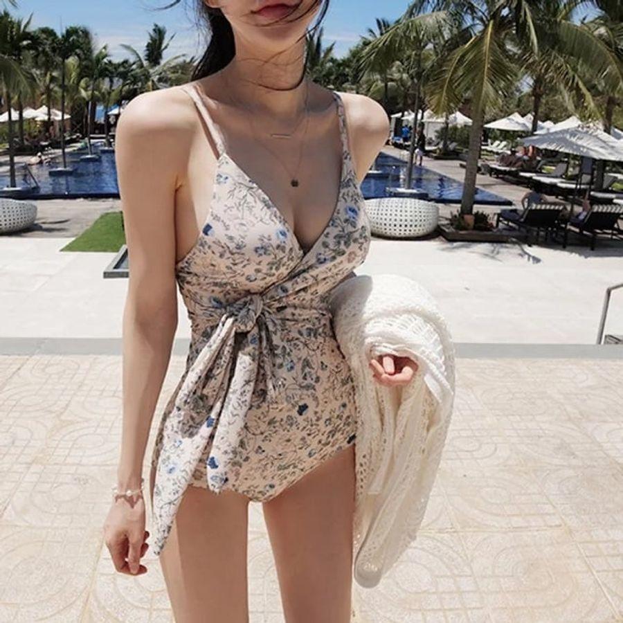 Bikini Liền Thân Hai Dây Thắt Nơ Họa Tiết Hoa Nhí