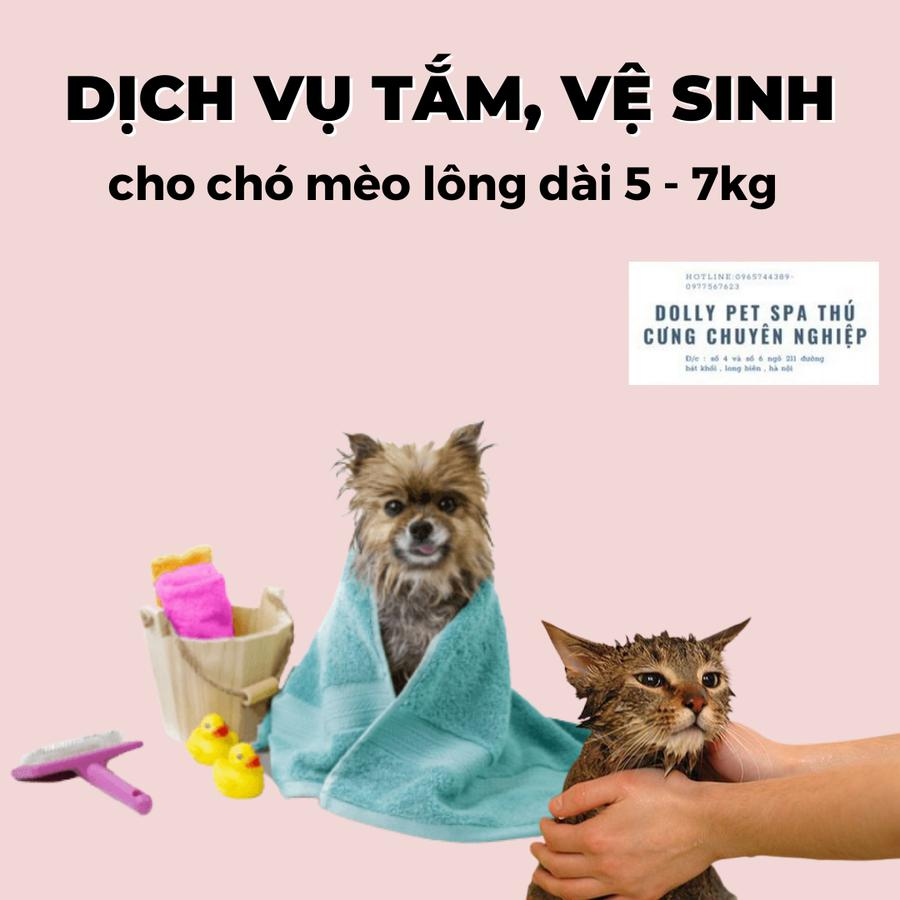 Voucher Tắm Vệ Sinh Trọn Gói Cho Chó Mèo Lông Dài 5kg Đến 7kg