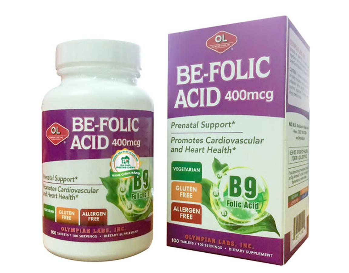 Viên Bổ Sung Axit Folic Olympian Labs Be-Folic Acid 400mcg