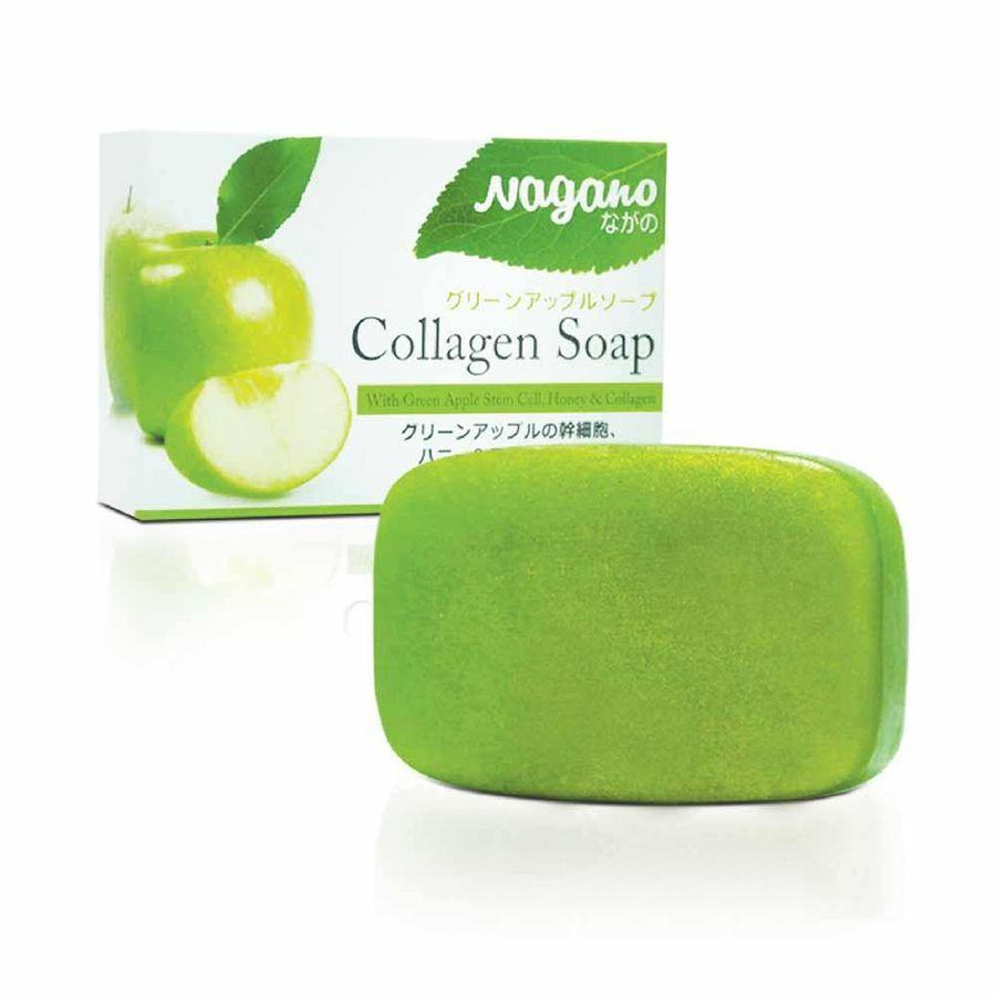 Xà Phòng Rửa Mặt Chiết Xuất Táo Xanh Nagano Japan 100g - Green Apple Collagen Soap Nagano