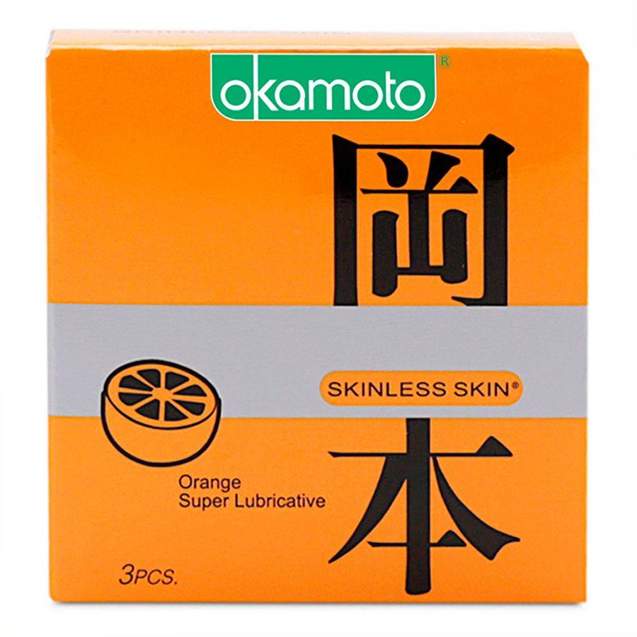 Bao Cao Su Okamoto Skinless Skin Orange Lubricated Hương Cam Hộp 3 Cái