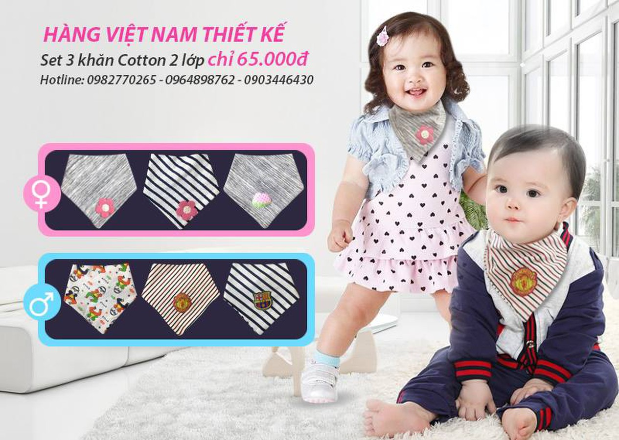 Set 3 Khăn Tam Giác 100% Cotton 2 Lớp Mềm Mại, Xinh Xắn Cho Bé Trai