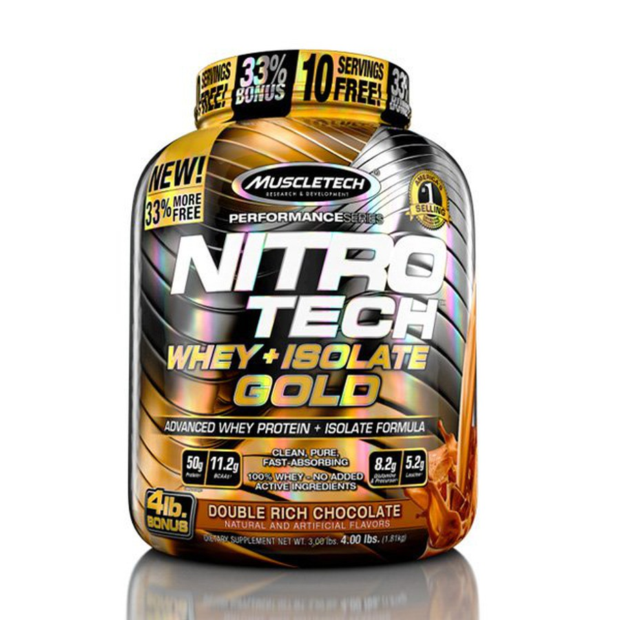 Sữa Tăng Cơ Nitro Tech Whey Plus Isolate Gold 4lbs