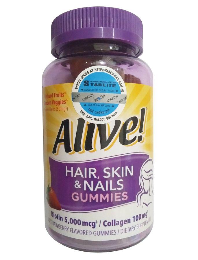Kẹo Dẻo Đẹp Da, Tóc, Móng Alive Hair Skin & Nail Gummy