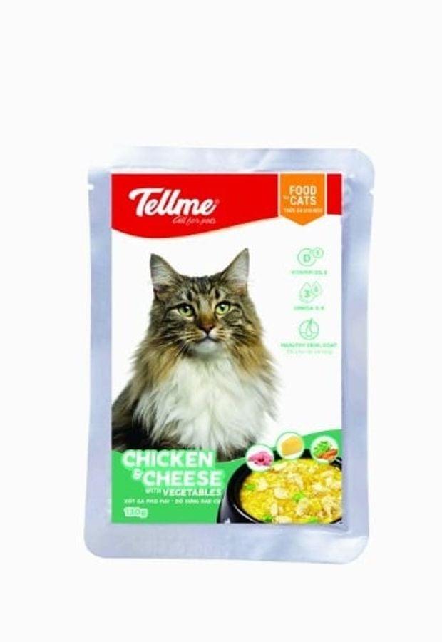 Combo 4 Túi Xốt Gà Phô Mai Bổ Sung Rau Củ Tellme Cho Mèo 130gr