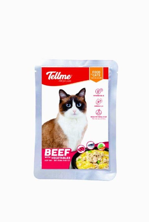 Combo 4 Túi Xốt Bò Bổ Sung Rau Củ Tellme Cho Mèo