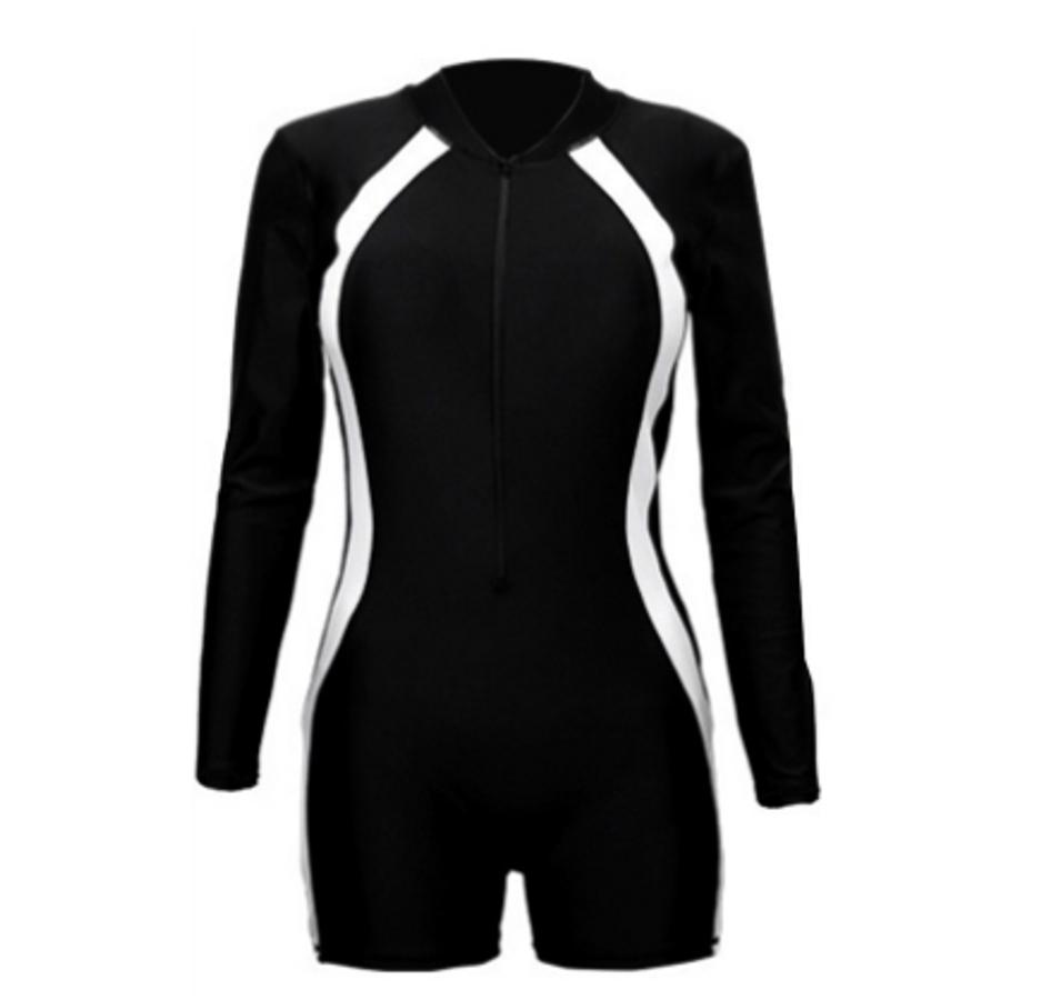 Bikini Liền Thân Dài Tay Bodysuit Màu Đen Chạy Sọc Trắng