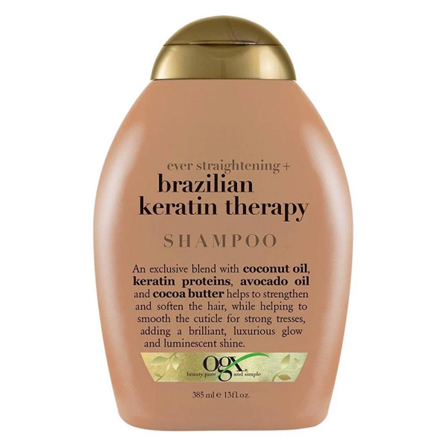 Dầu Gội Vào Nếp Suôn Mượt Tóc OGX Straightening Brazilian Keratin Therapy