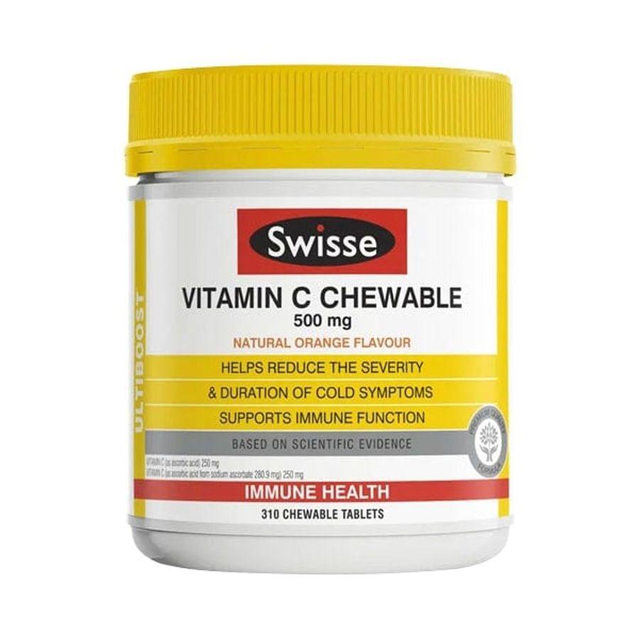 Viên Nhai Swisse Vitamin C Chewable 500mg Hỗ Trợ Tăng Đề Kháng