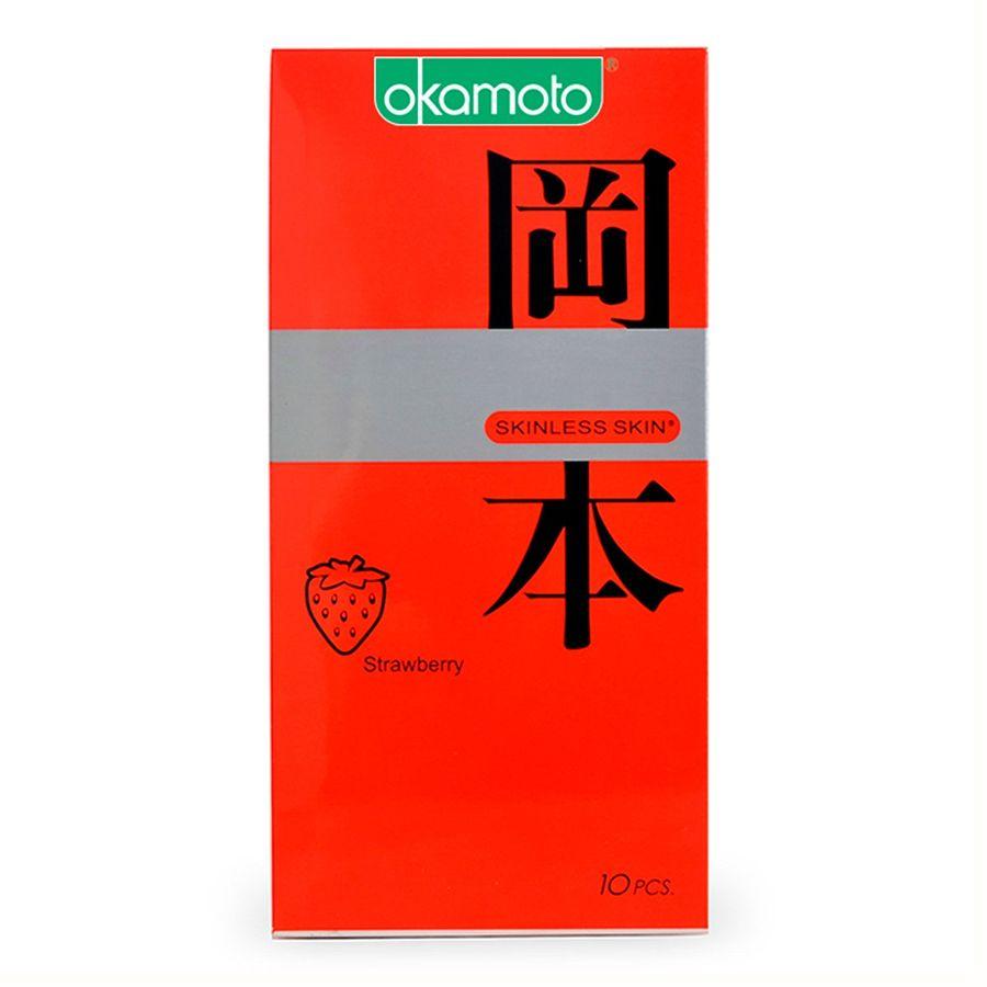 Bao Cao Su Okamoto Skinless Skin Strawberry Hương Dâu Hộp 10 Cái