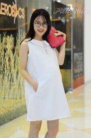 Đầm bầu Pretty Mom V03 màu trắng