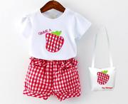 Bộ đồ quần áo cho bé gái họa tiết trái dâu xinh xắn