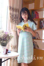Đầm bầu Pretty Mom V04 kẻ xanh lá