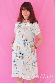 Đầm bầu Pretty Mom V05 tuylip xanh