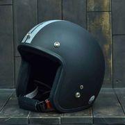 Mũ bảo hiểm Dammtrax Retro 3/4 đen bạc nhám
