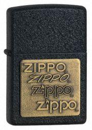 Bật lửa Zippo 362 Brass Emblem Black Crackle