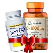 Combo Ivory Caps Glutathione, Vitamin C Puritan's Pride 1000mg