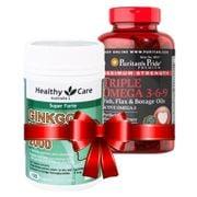 Combo Ginkgo Biloba Healthy Care, Triple Omega 3 6 9 Puritan's Pride