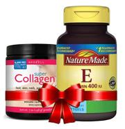 Combo Super Collagen Neocell dạng bột, Vitamin E 400 iu Nature Made