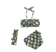 Bikini dạng yếm họa tiết chấm bi kèm turban cao cấp cho bé