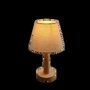 Đèn ngủ đầu giường cán gỗ, chao vải lanh phong cách Nhật Bản