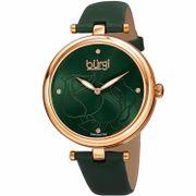 Đồng hồ nữ Burgi BUR151GN dây da mầu xanh case 37mm