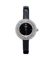 Đồng hồ nữ Burgi BUR195BK fây da đen bóng viền mâm xôi case 30mm